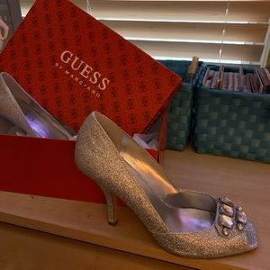 Silver Sparkle Guess Heels
